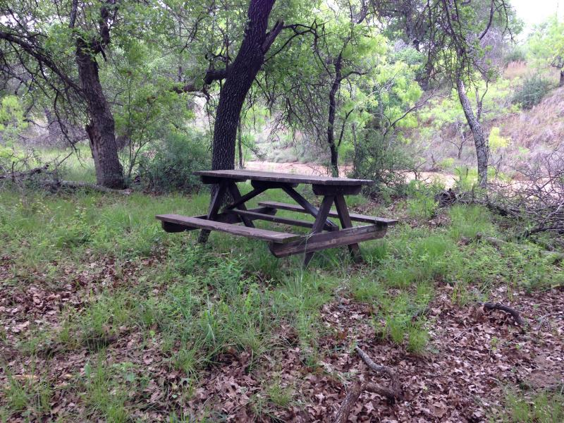 Picnic table by West Comanche Creek.