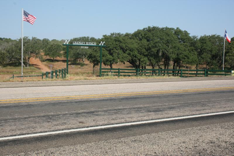 Entrance to the Lindsay Ranch. Designed and created by Clay Haley Lindsay.
